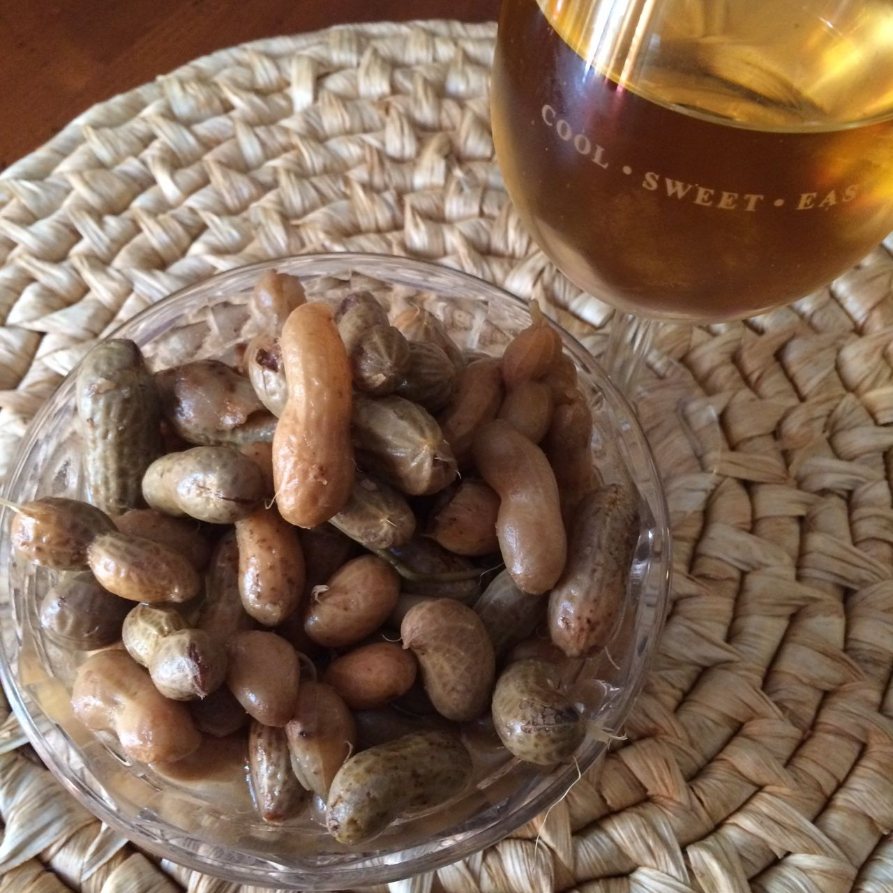 Wine & boiled peanuts  Never a bad combination  | Delicious