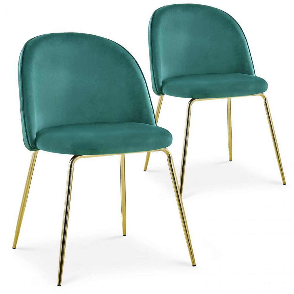 Lot De 2 Chaises En Velours Vert Et Pietement Or Broh En 2020 Chaise Contemporaine Lot De Chaises Chaise