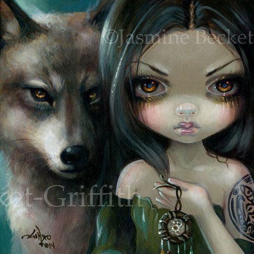 Fairy Face 226 Jasmine Becket-Griffith wolf dreamcatcher faery SIGNED 6x6 PRINT