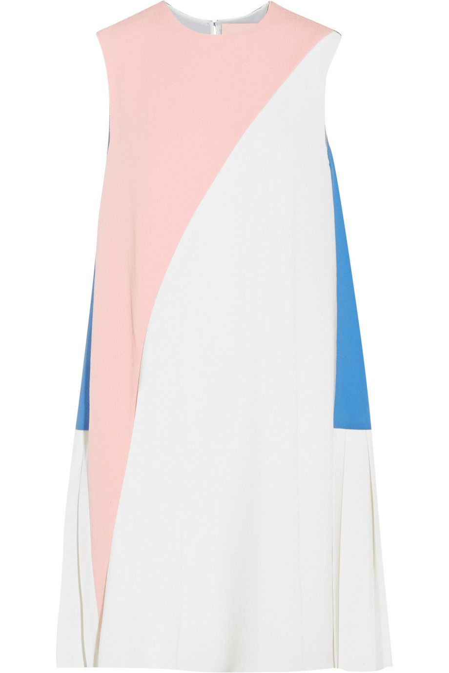Seamed crepe dress in color block leggings