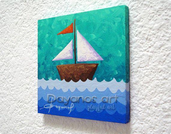 Original Painting Cute Sailing Boat Nautical Wall By Dayanosart Inexpensive Artlittle Boys Roomsboy