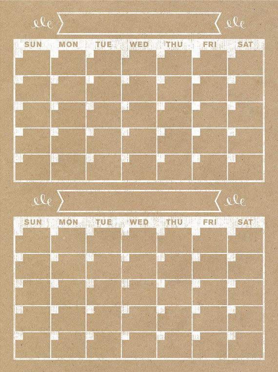 2 Month Calendar Vertical Family Planner Wall by BlissNotions - office template calendar