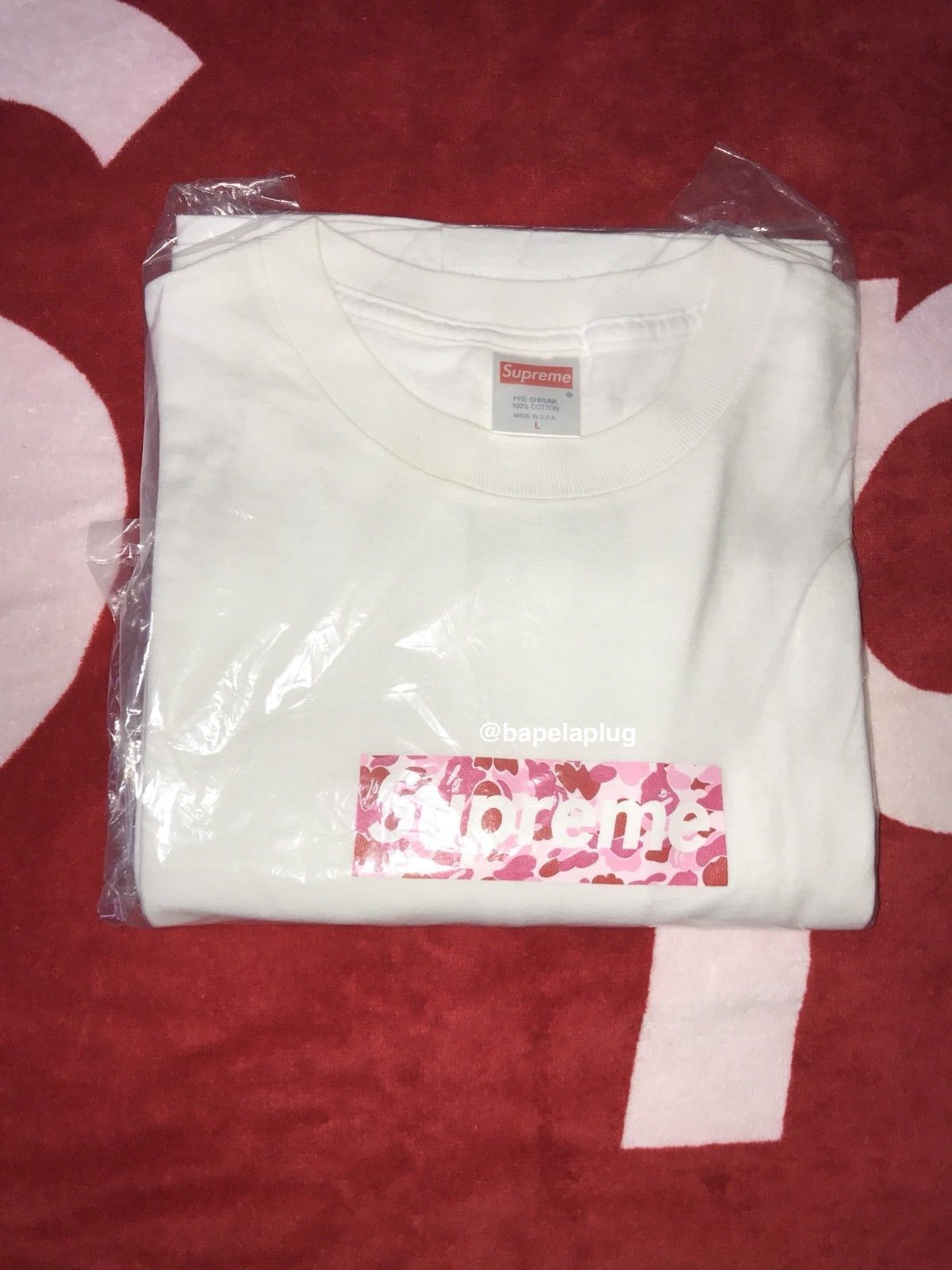 huge discount 65cb4 0fd0f SUPREME x BAPE Pink ABC Camo Box Logo T-shirt WHITE L Large Japan A bathing  ape