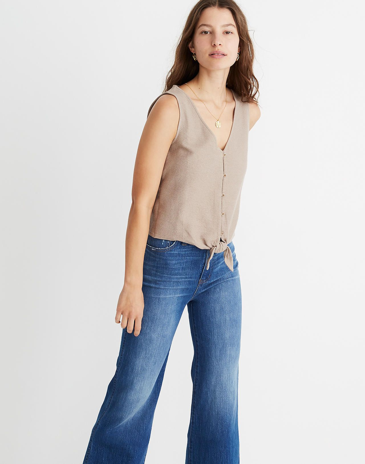 801adc1522 Texture & Thread Button-Front Tie Tank Top / Stitch Fix, Madewell, Bell