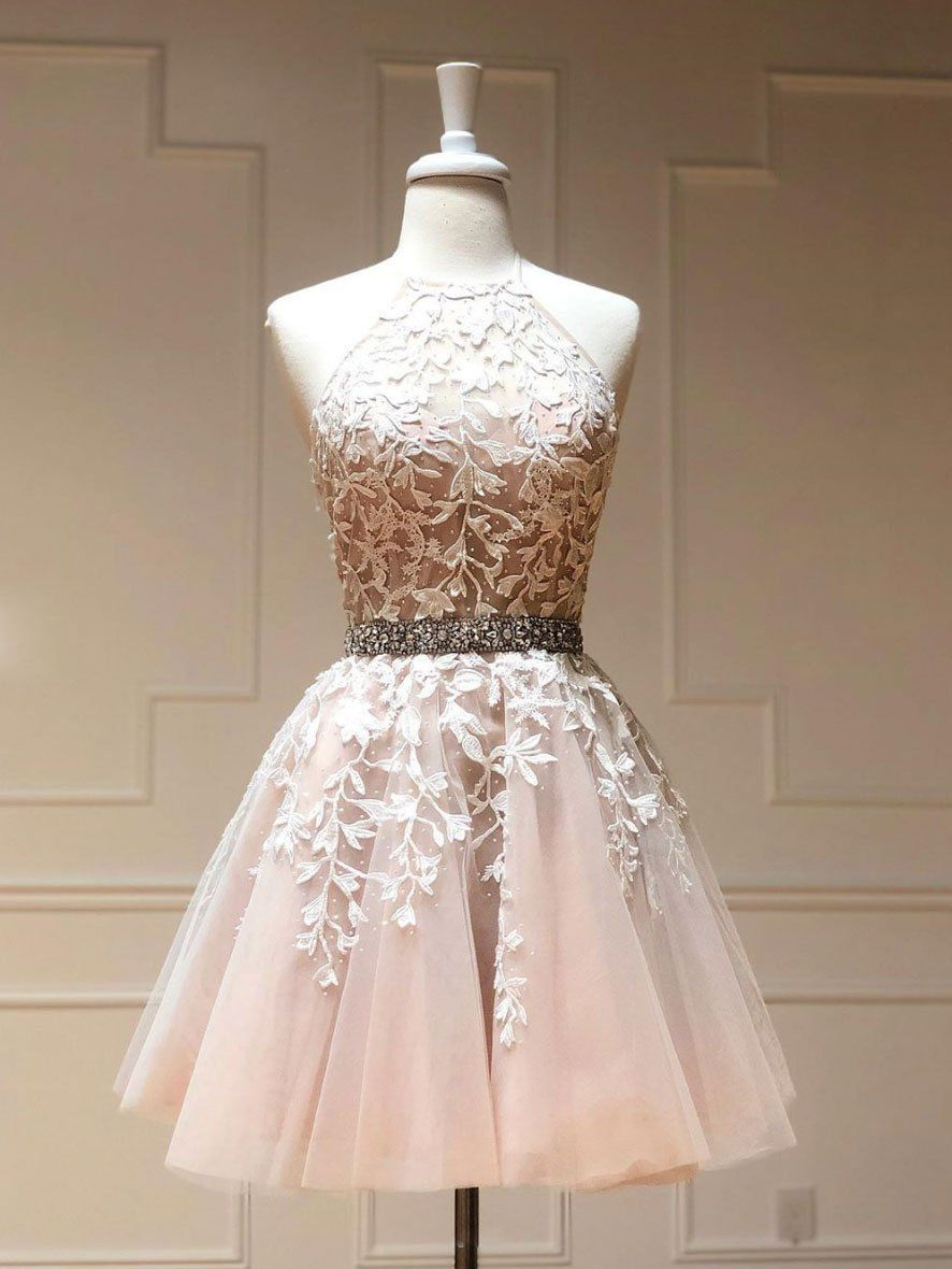 Photo of Champagne tulle lace short prom dress champagne homecoming dress,  #Champagne #Dress #homecom…