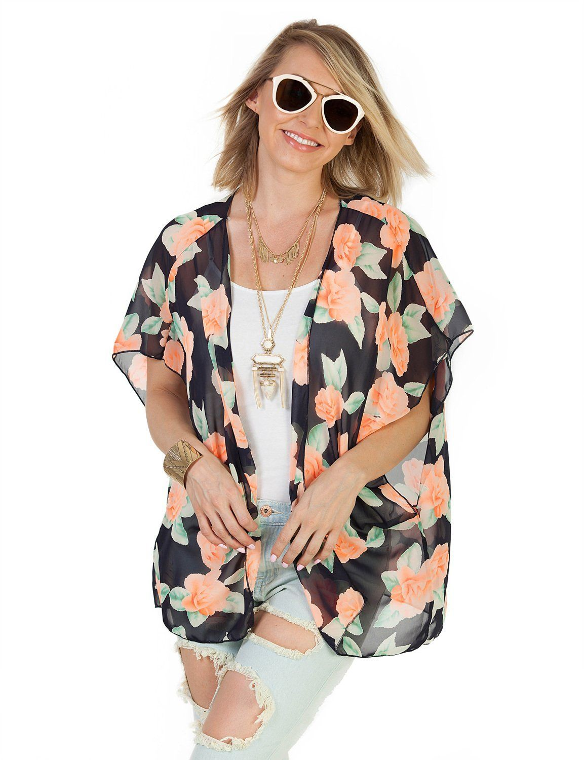 BUY - Azkara Women's Light Loose Short Sleeve Printed Kimono ...