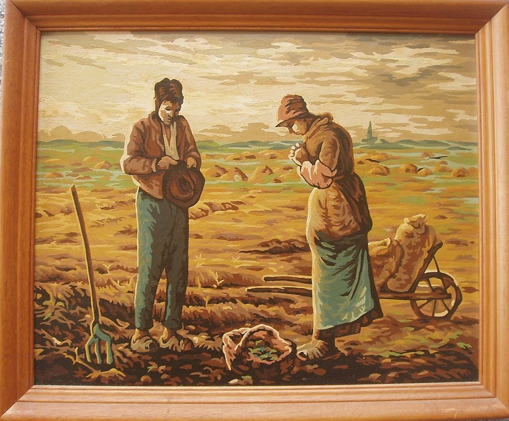 Jean Francois Millet Paint By Numbers The Angelus 1950svintage Framed Painting