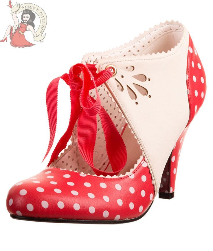 Details about BANNED 50s MARY BETH polka dot SHOES vintage style heels RED  WHITE  Theres something about shoes