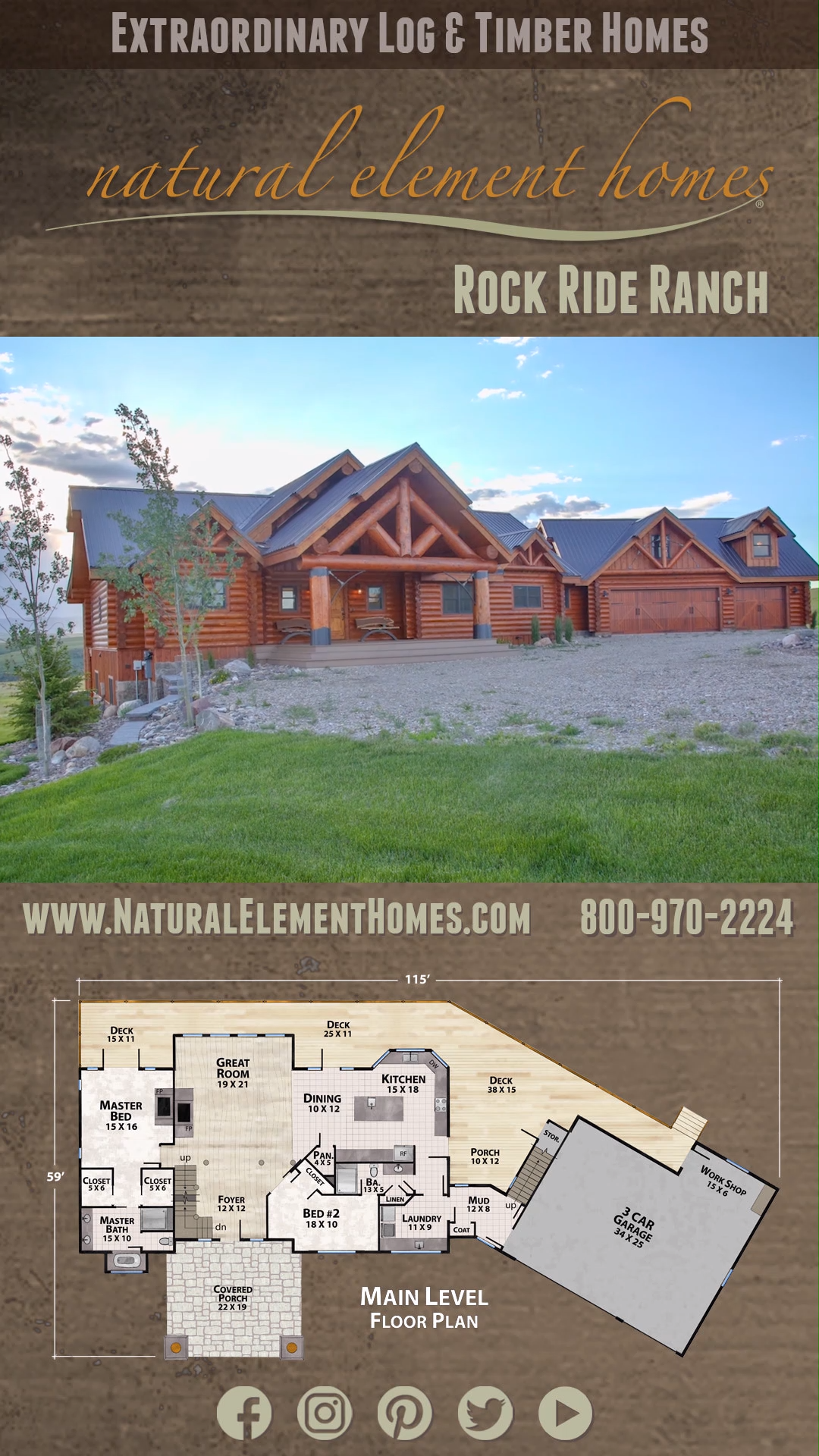 Surrounded By The Stunning Montana Landscape The Rock Ride Ranch Is A Sizable Log Home That Spre Log Cabin House Plans Floor Plans Ranch Log Cabin Floor Plans