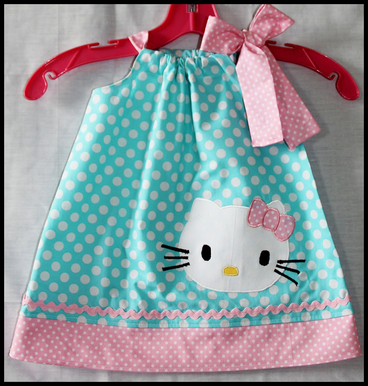 Super Cute Polka Dot Hello Kitty Dress Aqua And Pink Polka