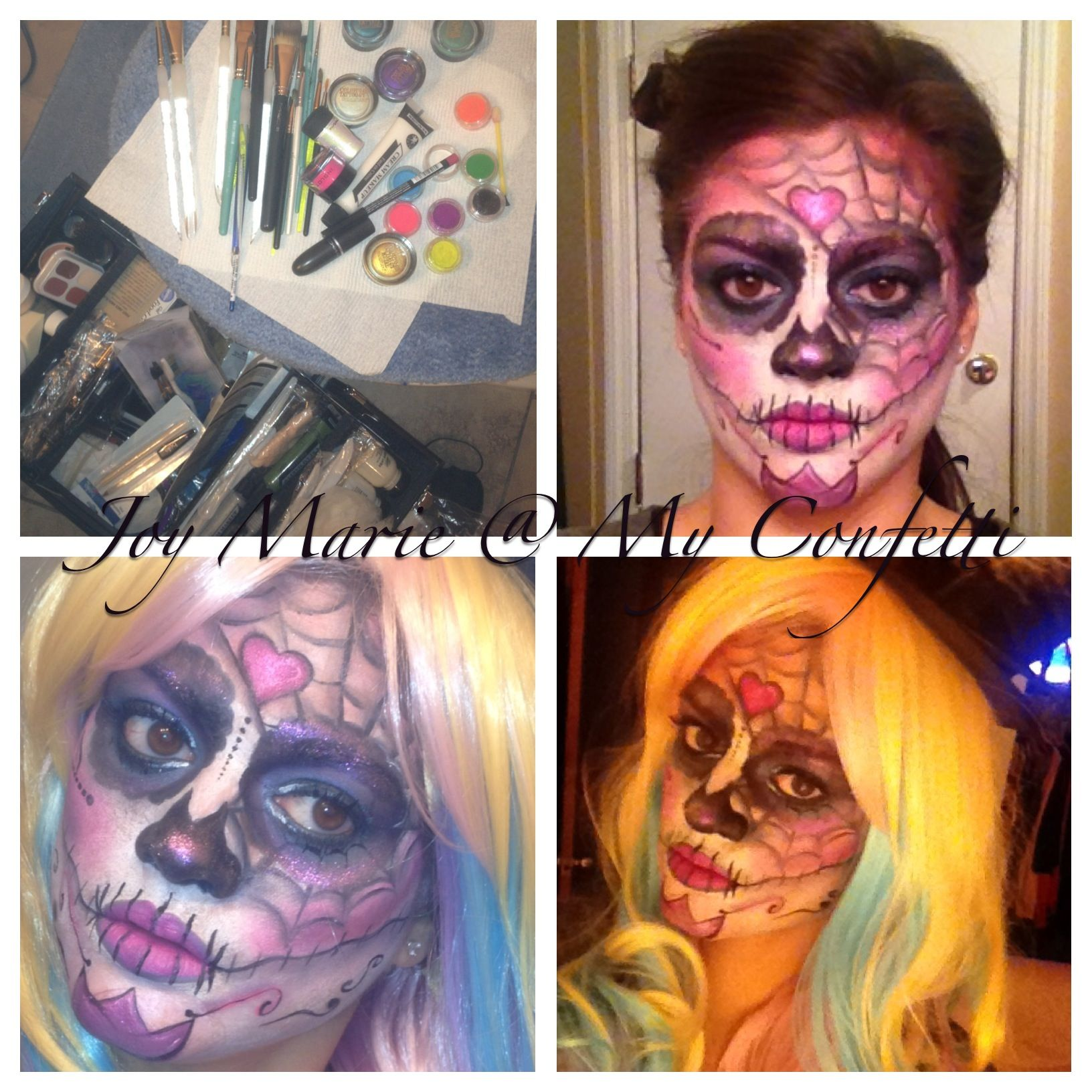 Candy Sugar Skull Makeup.  For questions of list of products used go to My Confetti on Facebook.
