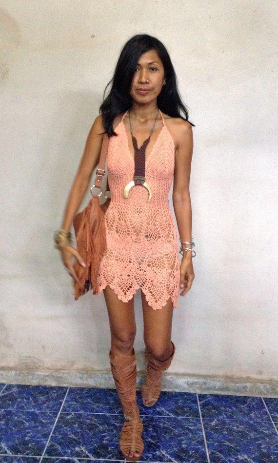 Handmade crochet dress, boho dress,beach dress 11 colors | boho ...
