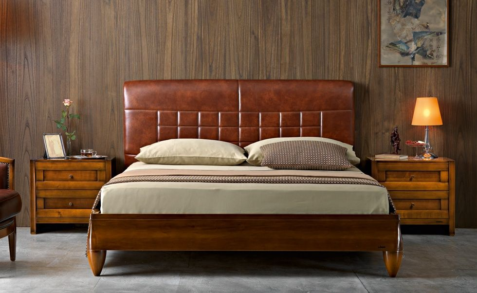 M18 mosaico contemporary collections le fablier bed with padded headbord covered in leather