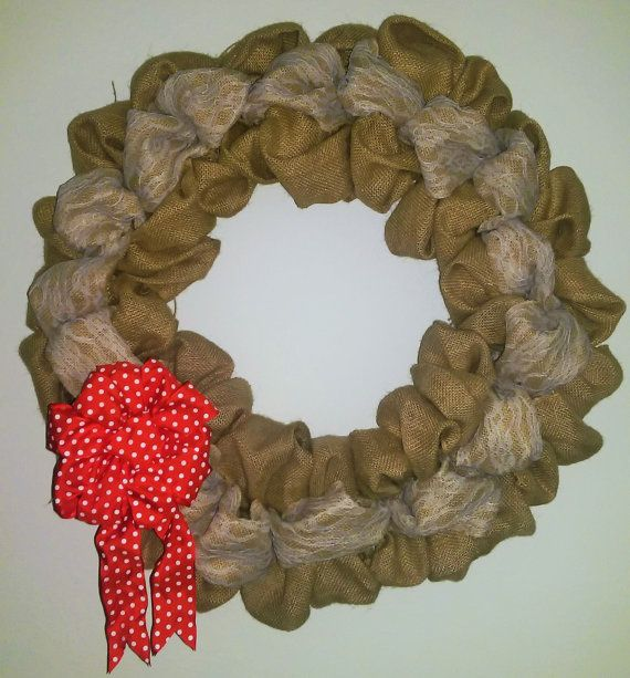 Burlap Wreath with Lace and Polka Dot Bow by smARTytARTies on Etsy