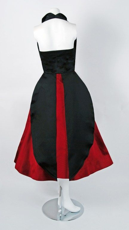 1950's Sorelle Fontana Couture Ruby-Red & Black Satin Halter Party Dress | From a collection of rare vintage evening dresses at https://www.1stdibs.com/fashion/clothing/evening-dresses/