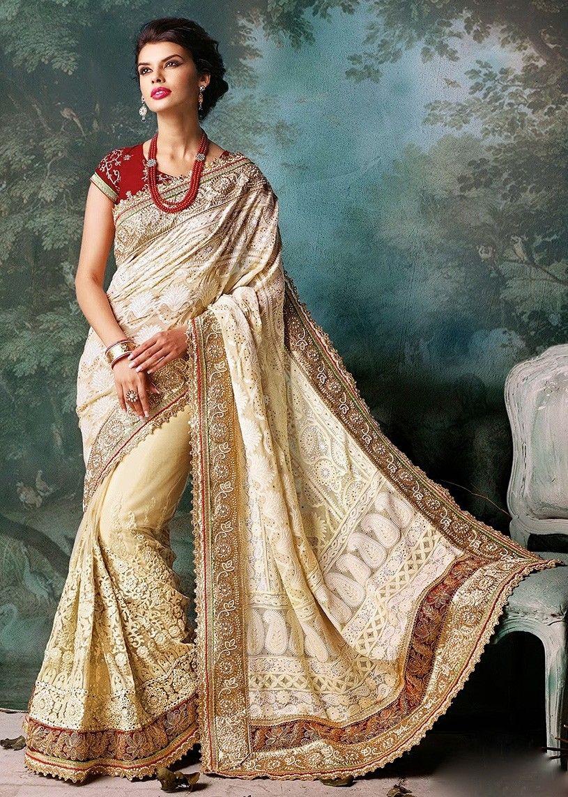 ad700e4c774 Georgette Machine Work Off White Designer Saree - 1544 In Stock  Rs 4