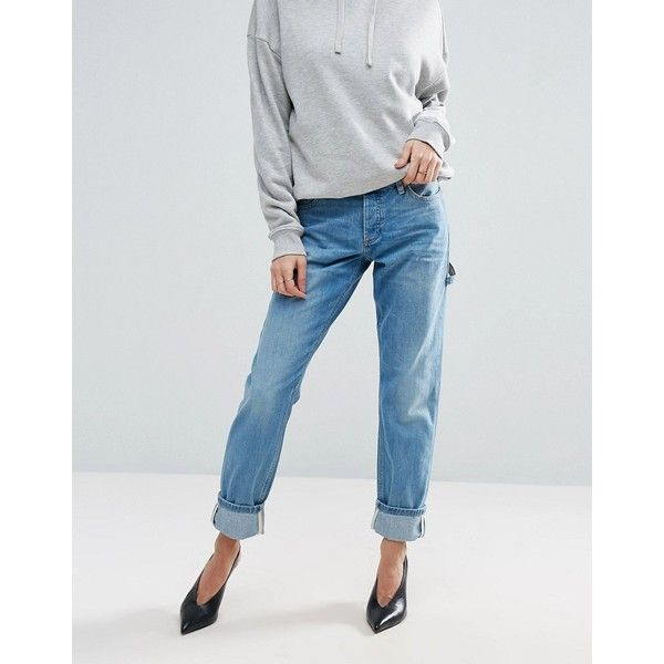 ASOS BRADY Boyfriend Jeans with Carpenter Styling ($49) ❤ liked on Polyvore featuring jeans, blue, asos, relaxed boyfriend jeans, slouchy boyfriend jeans, relaxed fit jeans and low rise jeans