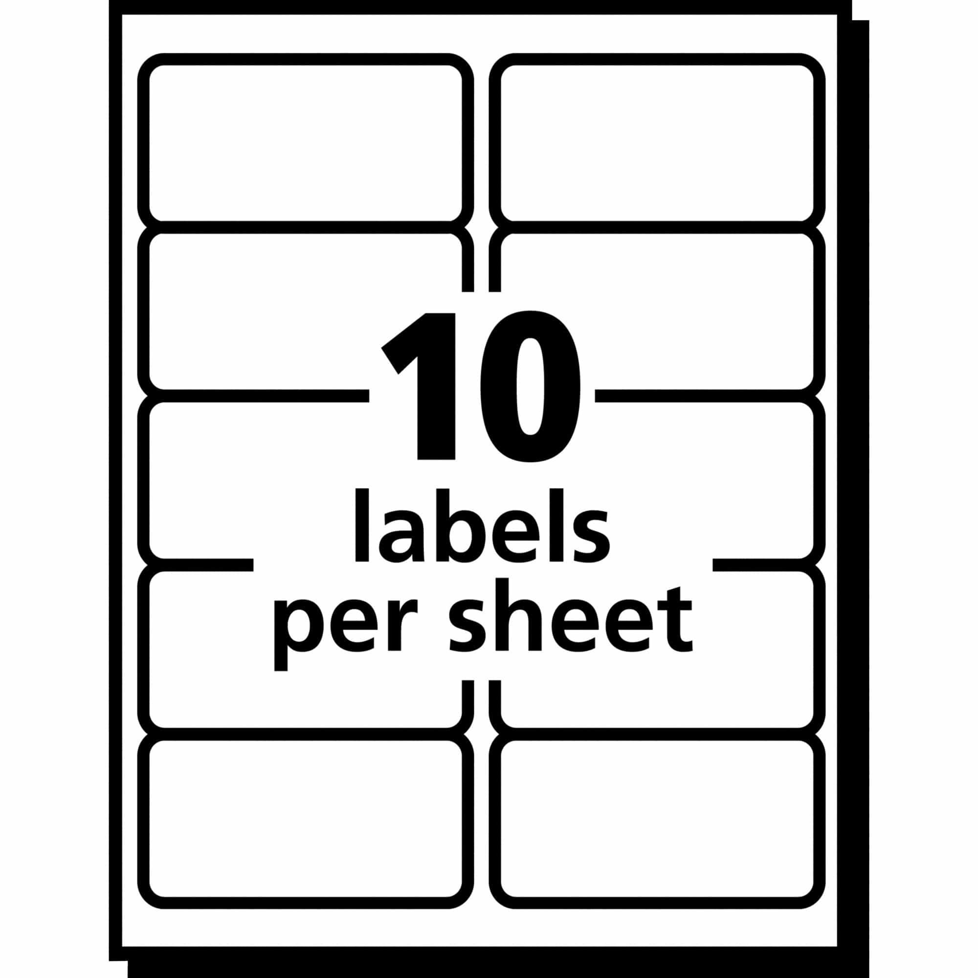2 X 4 Label Template 10 Per Sheet Label Templates Inkjet Labels Create Labels