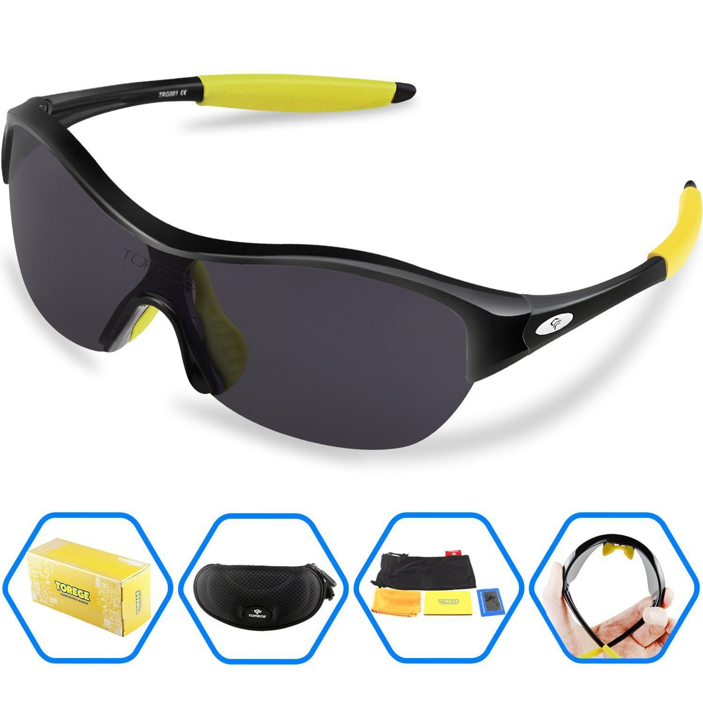 4d2352427fef Torege Tr90 Flexible Kids Sports Sunglasses Polarized Glasses for Junior Boys  Girls Age 3 15 Trk001