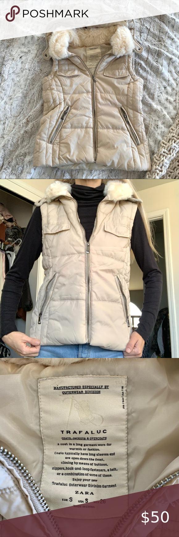 Zara Trafaluc Cream Fur Collar Knit Puffer Vest Sleeveless Puffer Faux Fur Vest Black Tan Knit Sweater [ 1740 x 580 Pixel ]