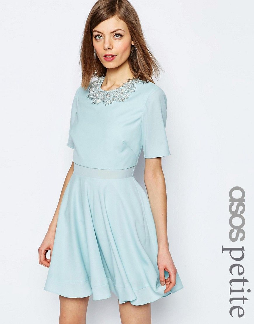 b231ee70dca1b6 Image 1 of ASOS PETITE Embellished Cluster Crop Top Mini Dress