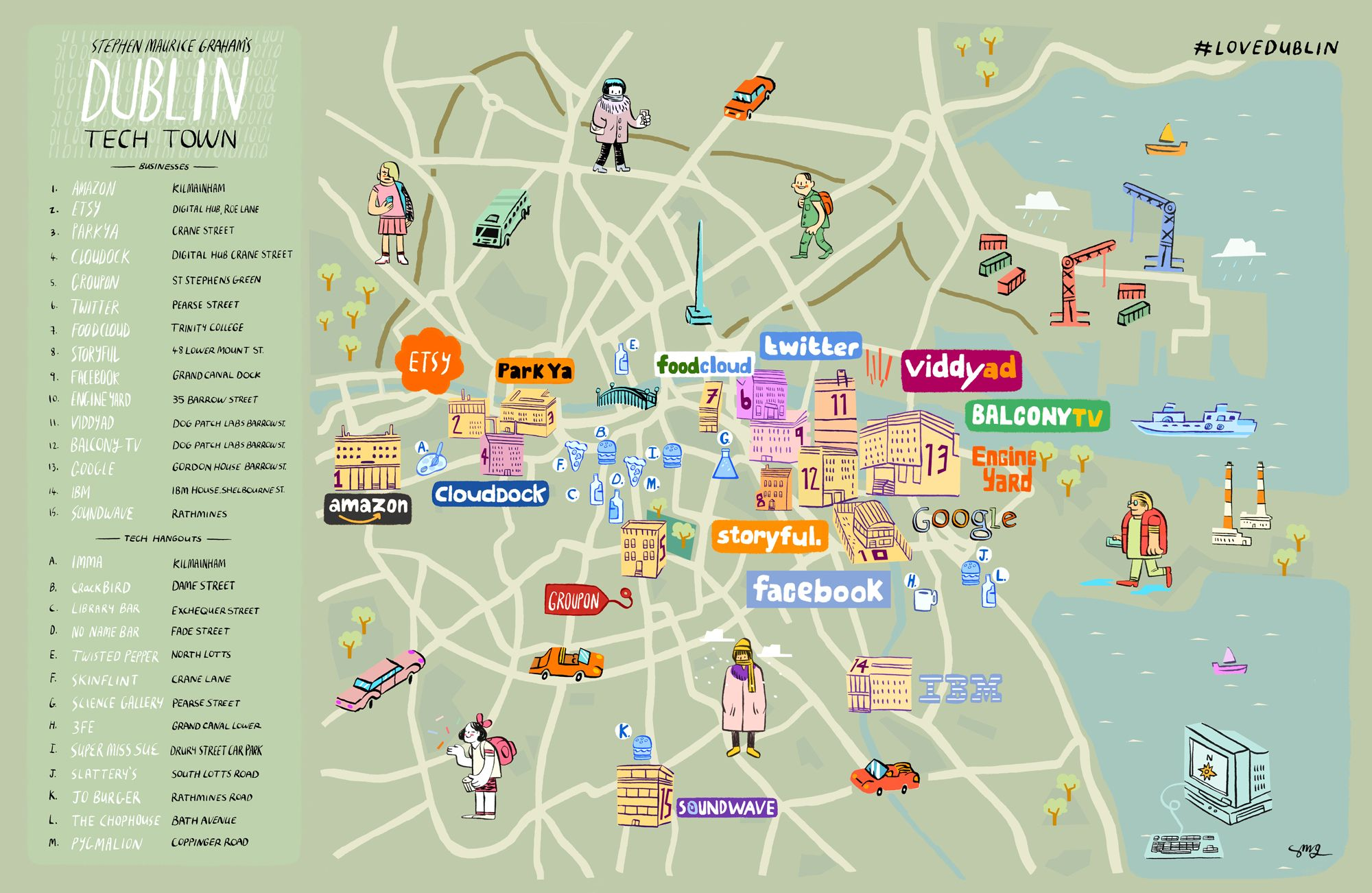 Stephen Graham Tech Map of Dublin Cartes illustrées