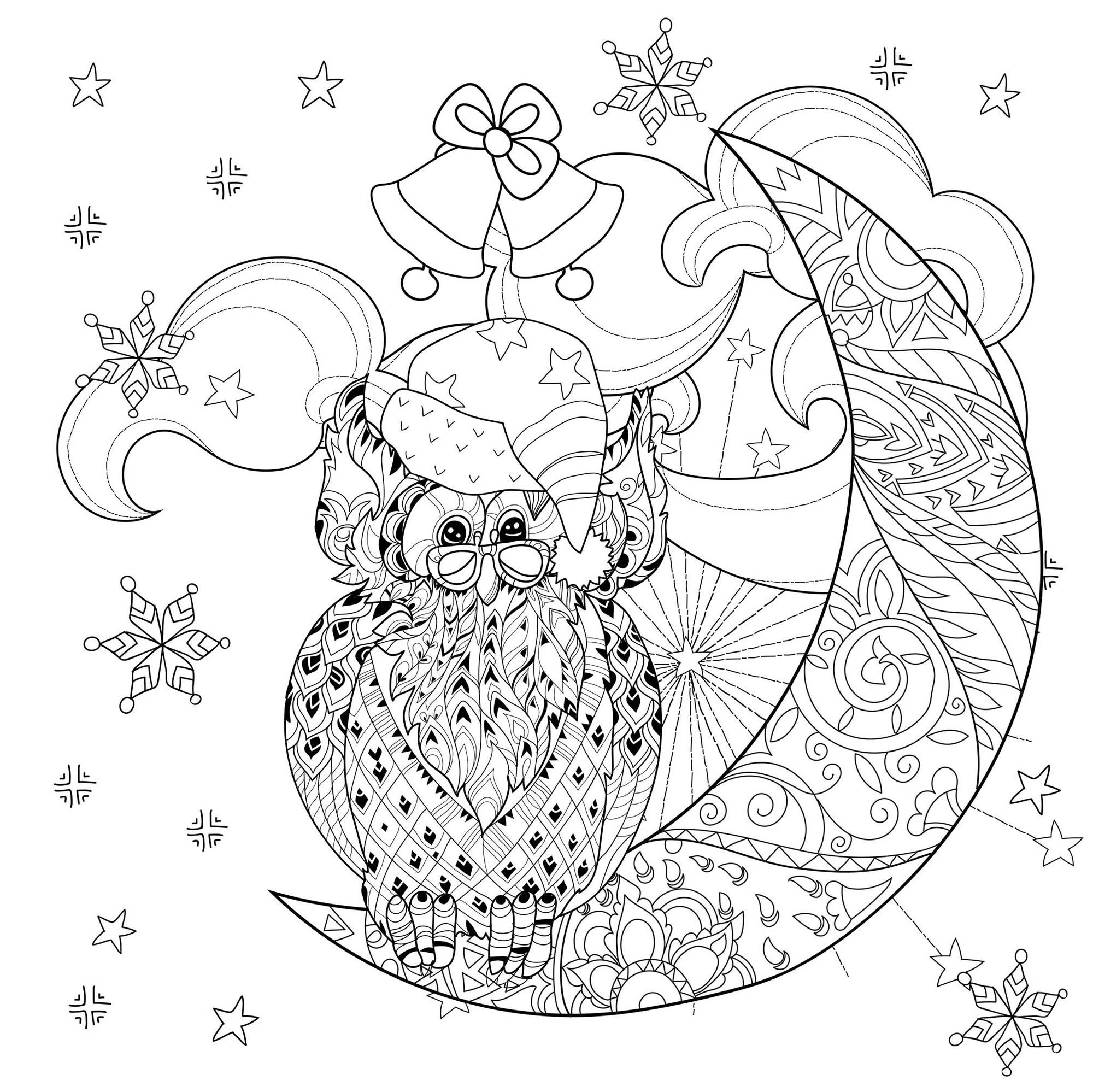 Color This Cartoon Owl With Glasses And Santa Claus Hat Sitting On A Half Moon With Beauti Moon Coloring Pages Anti Stress Coloring Book Stress Coloring Book