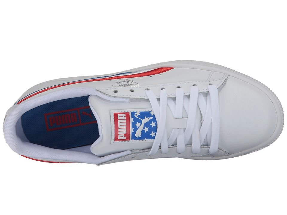 pretty nice 19bd1 4b1b2 Puma Kids Clyde 4th of July (Big Kid) Boy's Shoes High Risk ...