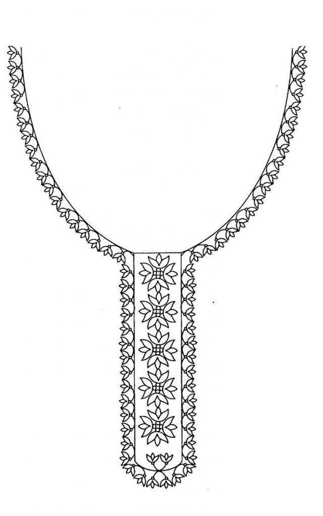 Hand embroidery designs for kurtis neck | Bordado