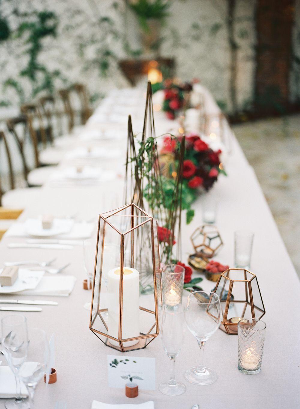 Geometric wedding table decor: Spring Villa San Juan Wedding ...