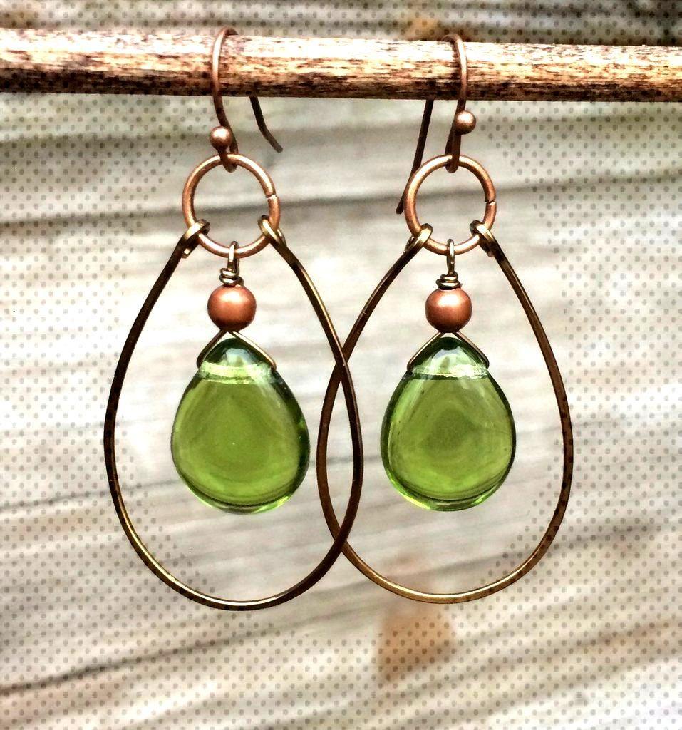 Green teardrop hoop earrings, green glass earrings with copper accents