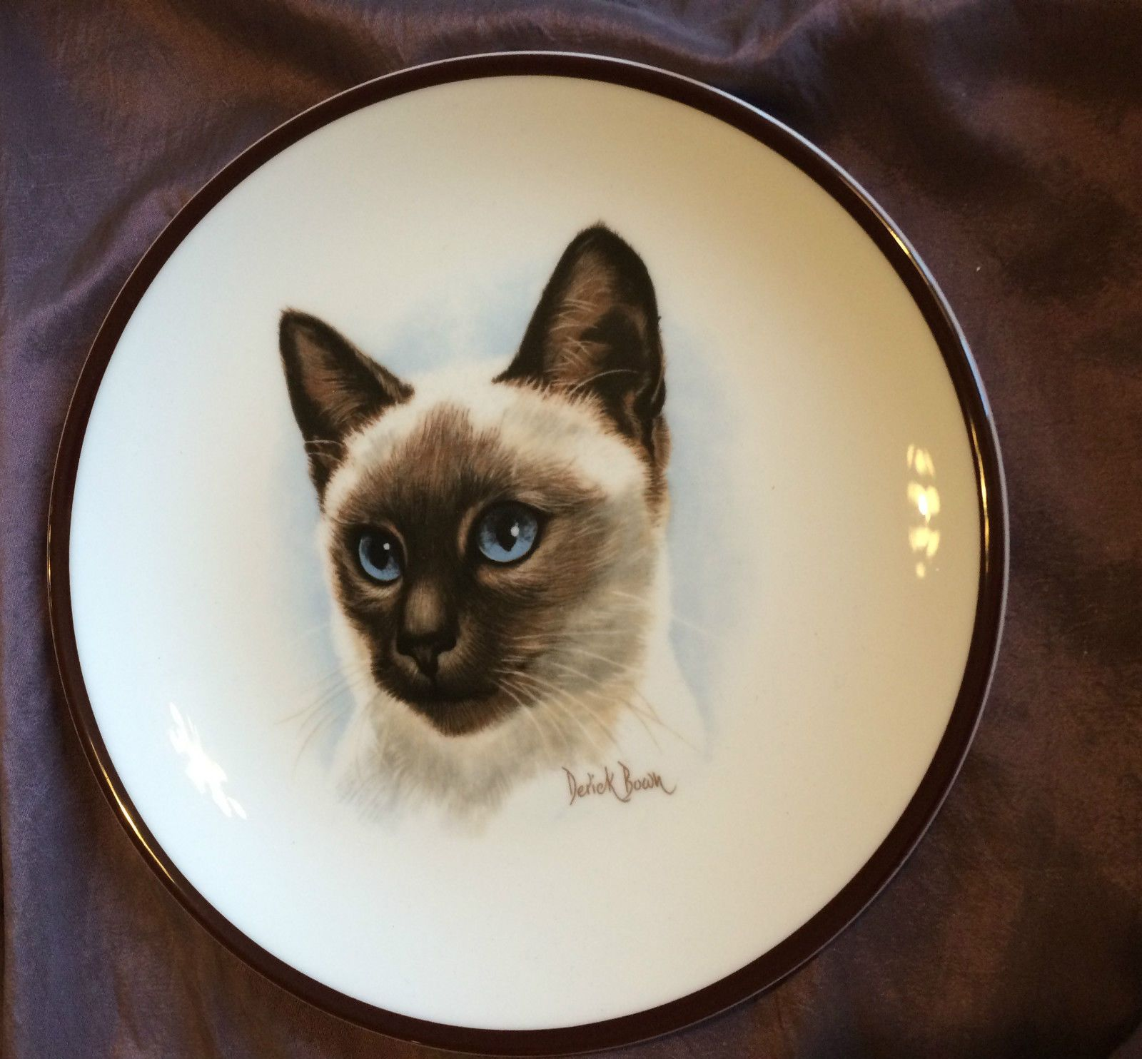 Coalport China SIAMESE CAT Plate, Derick Bown, England Collectors ...