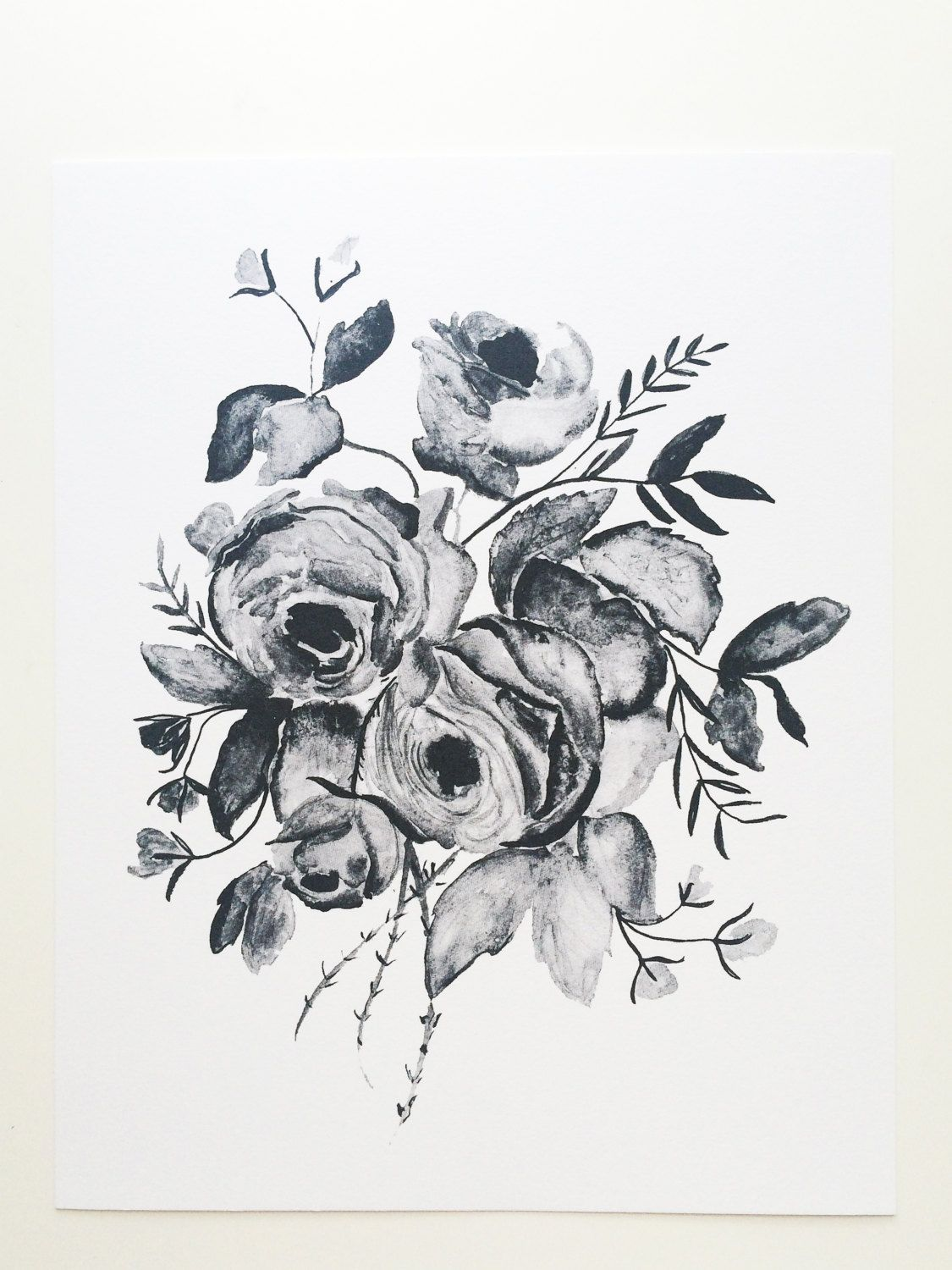 Greyscale Watercolor Roses