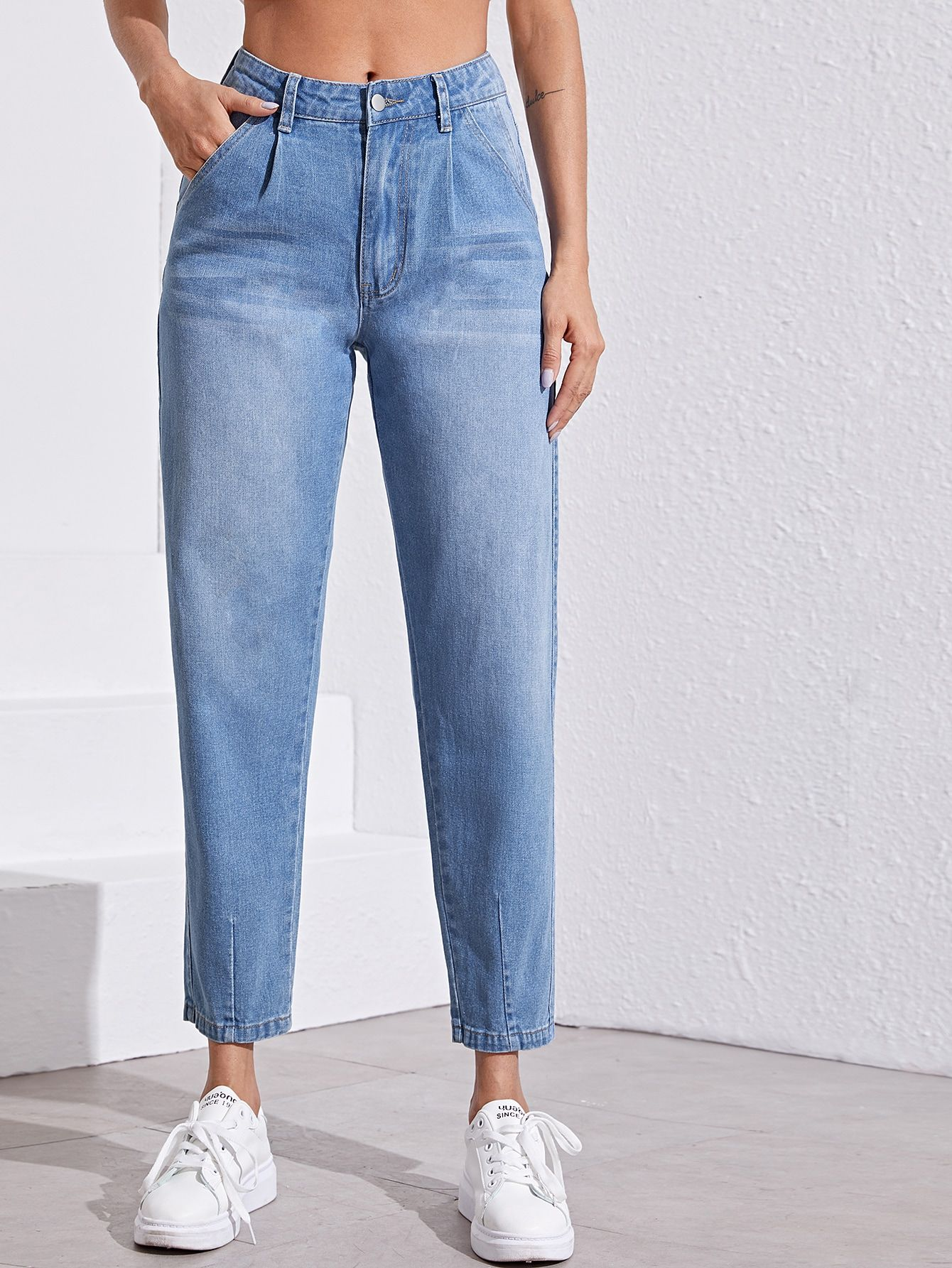 Ad Light Wash Mom Jeans Tags Casual Blue Pastel Plain Button Pocket Zipper Washed Long Tapered Carrot 85 Cotto Vaqueros De Mama Moda De Ropa Ropa
