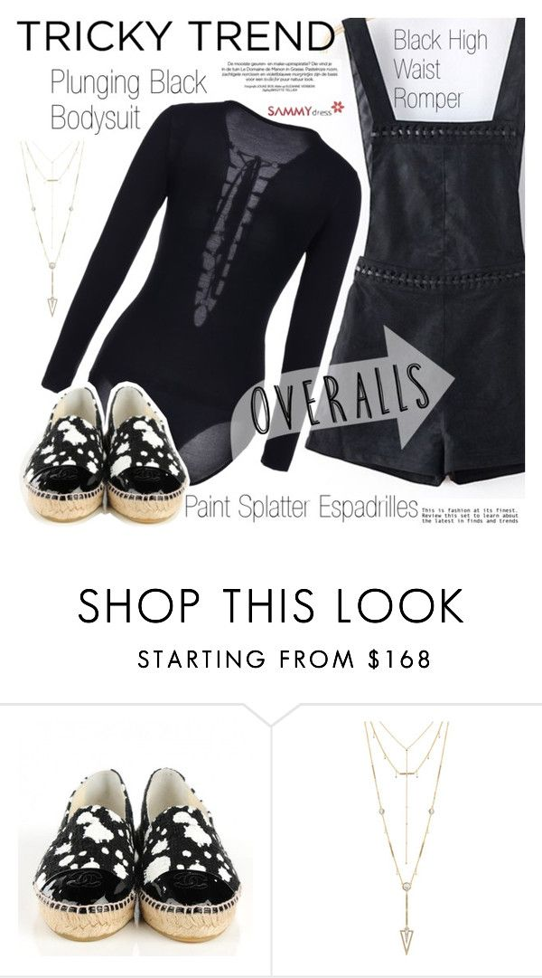 """""""Tricky Trend: Overalls"""" by vanjazivadinovic ❤ liked on Polyvore featuring Chanel and House of Harlow 1960"""
