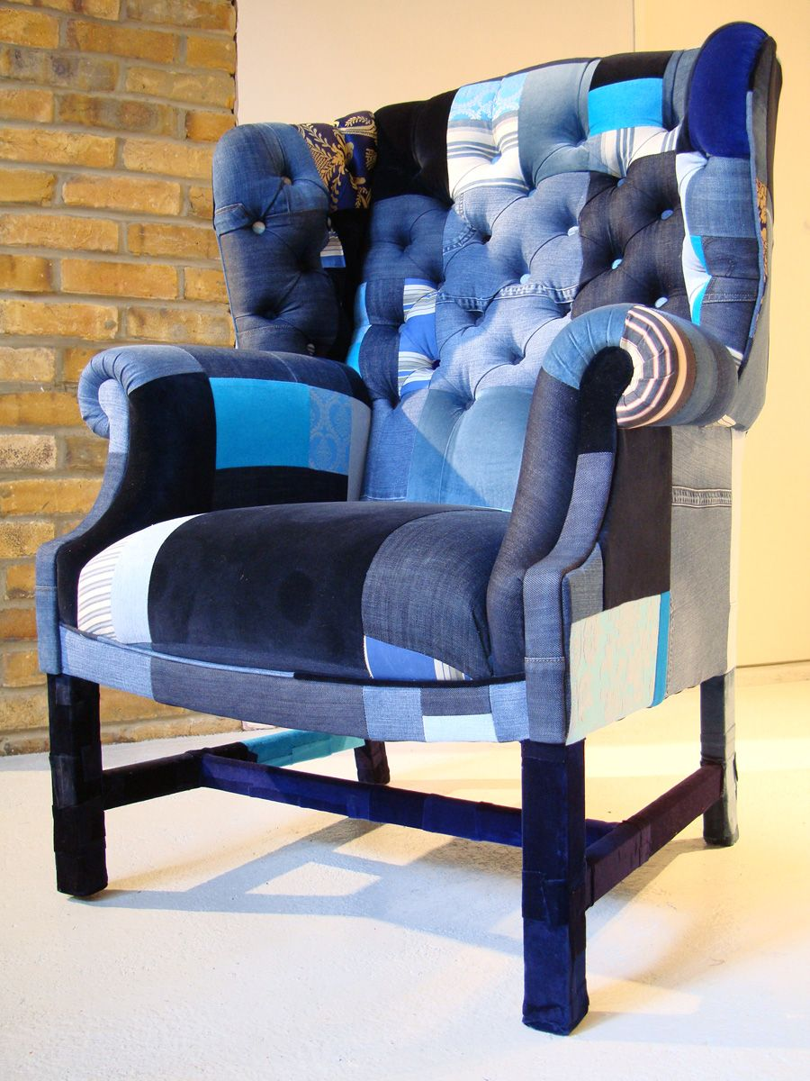The Peebles Armchair - Blue | patchwork furniture and furniture in ...
