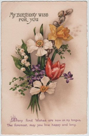 Love this image for making hand made cards or scrapbooking my birthday wish for you vintage postcard bookmarktalkfo Image collections