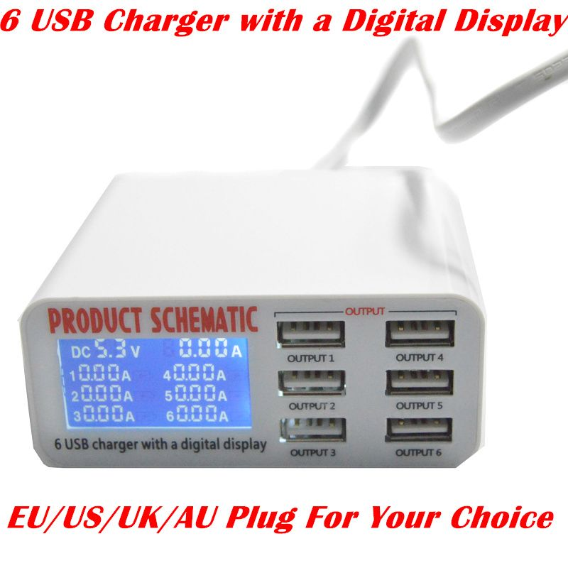 High Quality 6 Port USB Charger With Digital Display Fast Smart Charging  Station For Smart Phone Tablet PC Digital Camera