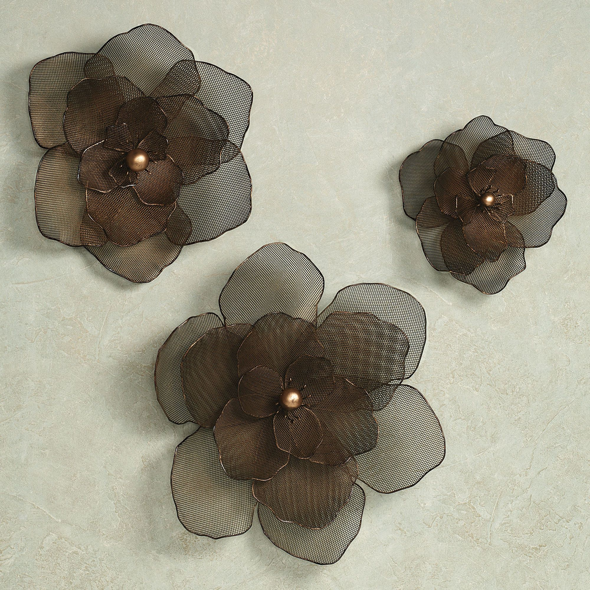 Large Metal Flower Wall Art Home Asataire Set Antique Gold Of
