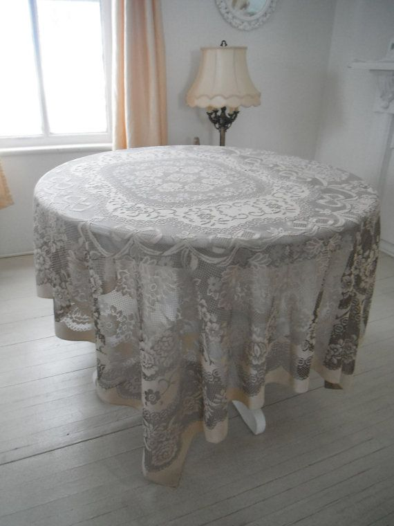 Light Brown Tablecloth Brown Lace French Country By ShabbyRoad, $20.00