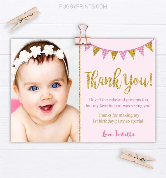 Pink And Gold Birthday Thank You Card With Photo Editable Etsy In 2021 Birthday Thank You Birthday Thank You Cards Gold Birthday