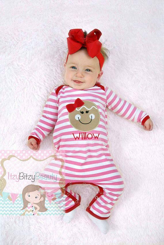 gingerbread man girl christmas pajamas pink and red stripes - Girl Christmas Pajamas