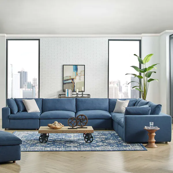 Modway Commix Down Filled Overstuffed 6 Piece Sectional Sofa Set Blue Sofas Living Room Sectional Sofas Living Room Sectional Living Room Layout