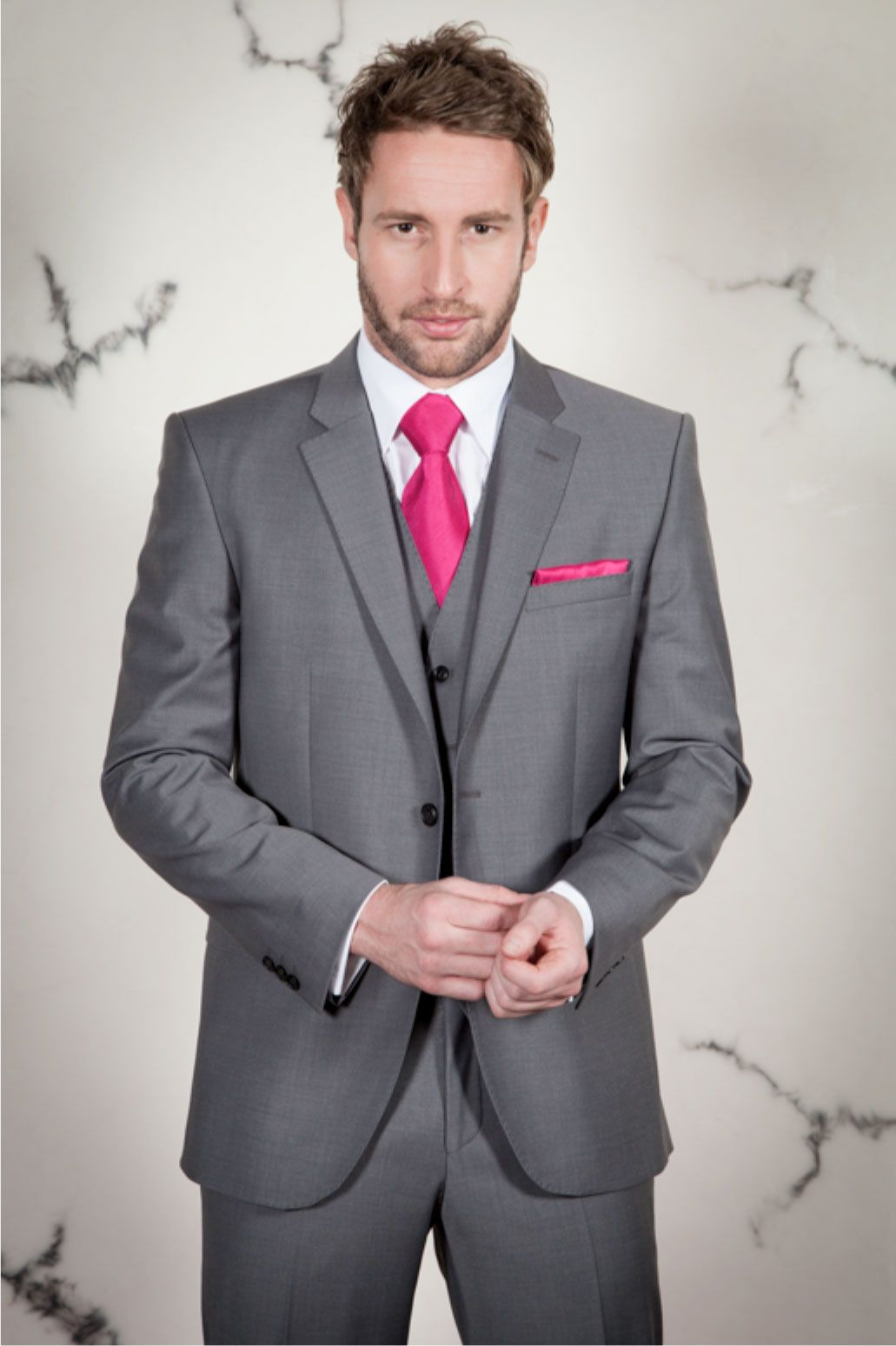 New Tailored Fit Light Grey Three Piece Suit for Hire at ...