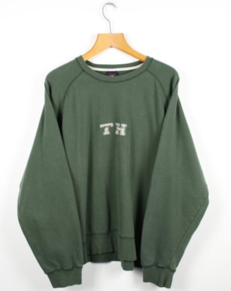 31b84e254 FOR SALE: Vintage TOMMY HILFIGER Green Big Logo Sweatshirt Jumper | Retro  Designer | XL