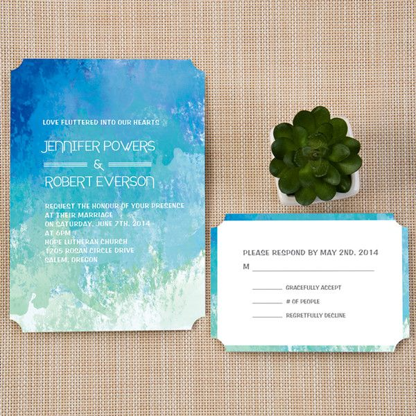 Montreal Wedding Invitations: Cheap Beach Shades Of Blue Summer Watercolor Ticket Shape