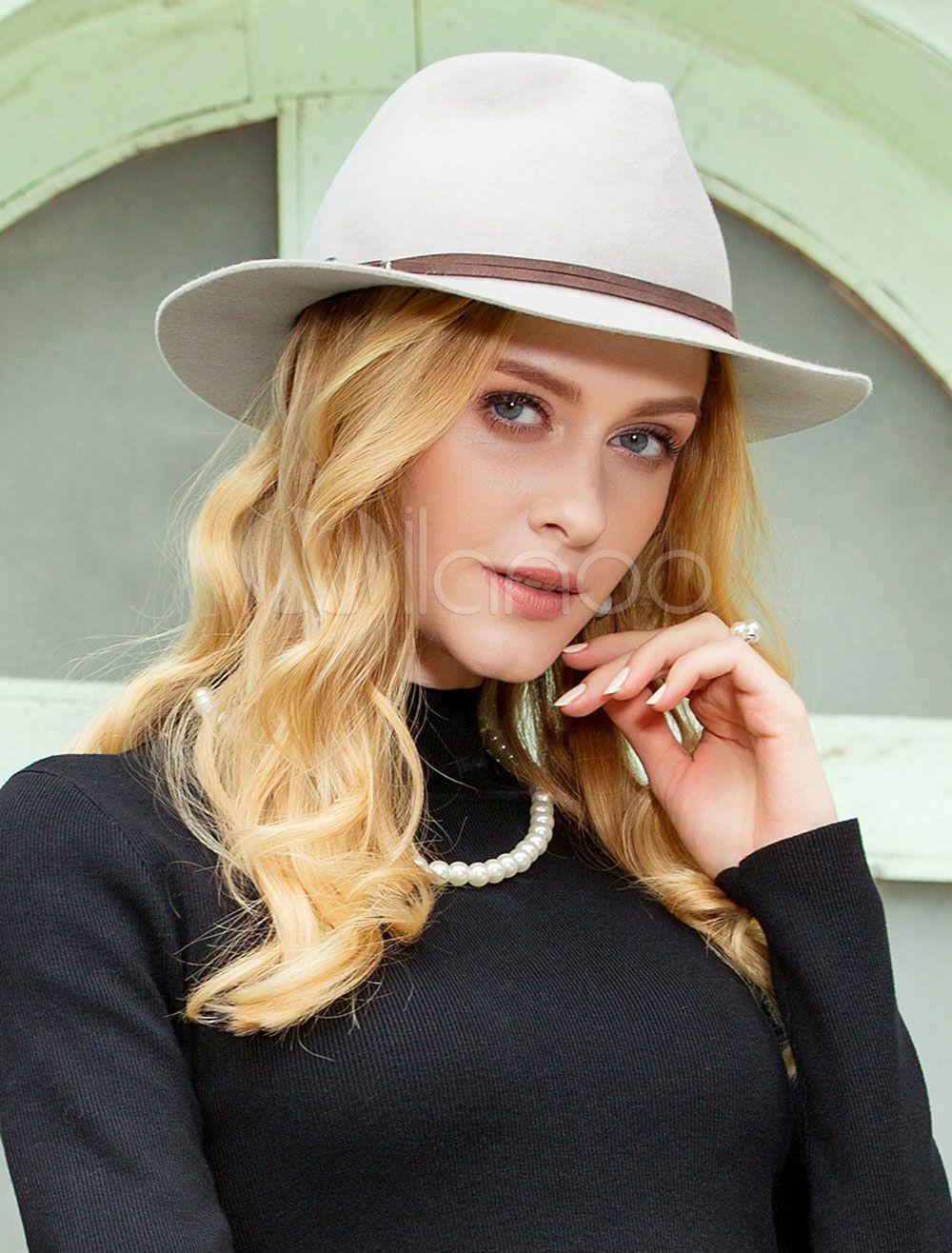 010cd237d5c7f7 Vintage Fedora Hat Wool Light Grey Winter Panama Hats For Women #Wool, # Light, #Hat