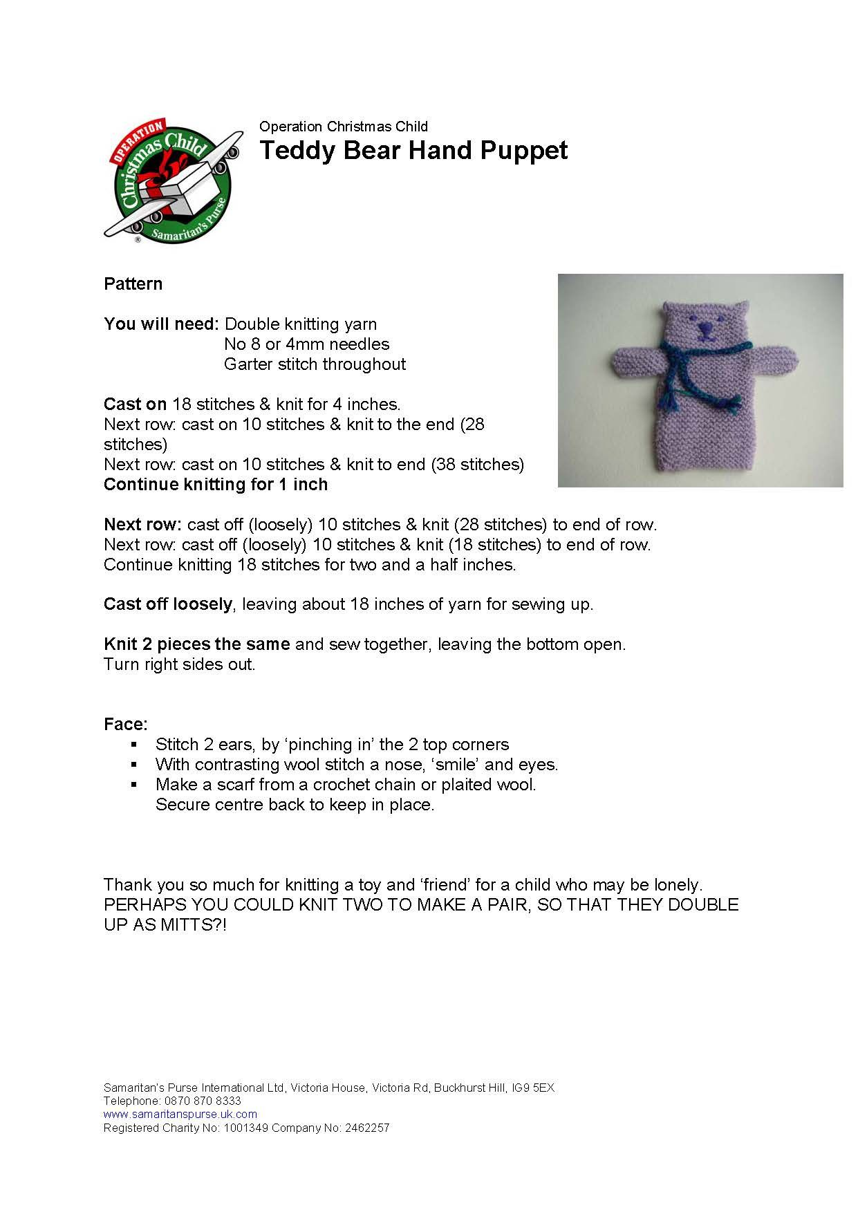 Operation Christmas Cast.Teddy Bear Hand Puppet Knitting Pattern Samaratin S Purse