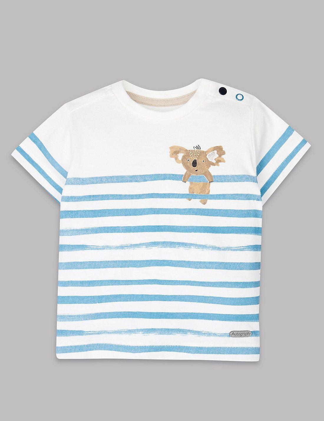 T Shirt 224 Rayures Et Motif Koala Marks Amp Spencer London