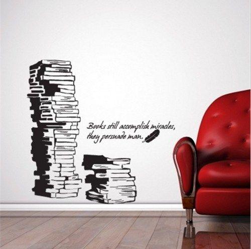 Book Books Words Vinyl Wall Decal Sticker Study Room Library Art Home Murals 001 Vinyl Wall Stickers Wall Stickers Bedroom Wall Stickers Home